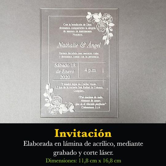 Tarjeta Invitación Acrílica RT